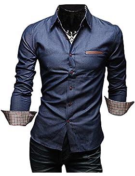 Quge Uomo Camicie in Jeans Colore Solido Manica Lunga Camicia Maglietta Slim Casual Shirts