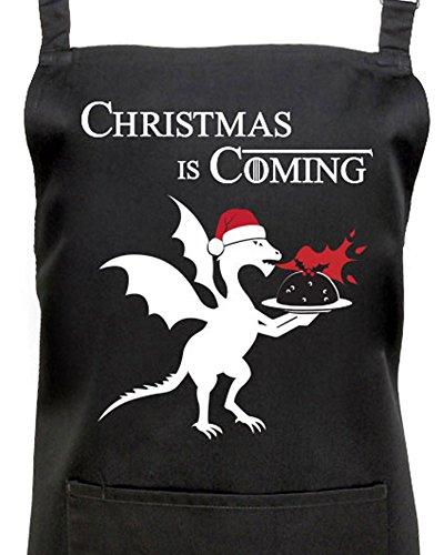 Christmas Is Coming de Juego de Tronos delantal Idea de regalo ventilador, color negro