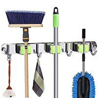 Mop and Broom Holder Wall Mount, Metal Stainless Steel Closet Broom Rack Organizer, Screws or Self Adhesive 3M Tape Mop Utility Hanger, Heavy Duty Storage Tool for Garage and Garden
