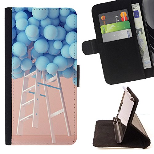 ung Galaxy A5 A5000 A5009 - Hanging the sky colored ballons - Folio PU Wallert Leather Case ()