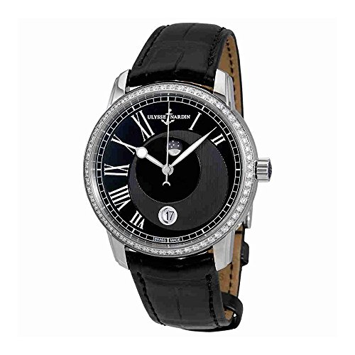 Ulysse Nardin 8293-122B-2/422 - Reloj de pulsera para hombre, esfera negra con diamantes automáticos Luna