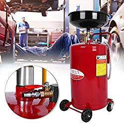 80 Liter 17.5 Gallon Portable Height Adjustable Waste Fluid Oil Air Drainer Drain Disposal Tank Collector