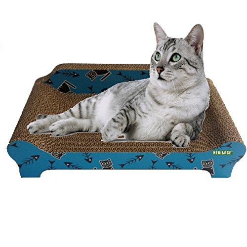 HERITAGE CARDBOARD B84 FISHBONE SOFA CAT SCRATCHER SCRATCHING BED PAD SOFA LOUNGE & FREE CAT NIP