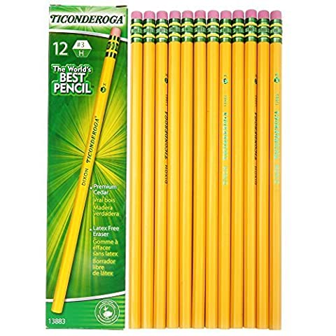 Dixon Ticonderoga Wood-Cased #3 H Pencils, Box of 12, Yellow (13883) by Dixon Ticonderoga (English Manual)