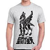 T-Shirt Uomo Maglietta Con Stampa Cavalieri Dello Zodiaco Saint Seya Pegasus CHEMAGLIETTE!, Colore: Cenere, Taglia: M