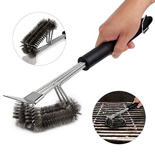 "BBQ Grill Brush, Barbecue Brush with Scraper, Safe 18"" Stainless Steel Woven Wire 3 in 1 Bristles BBQ Cleaning Brush for Gas/Charcoal, Long Handle Cleaner for Cooking Grates, Racks & Burner (Black-C)"