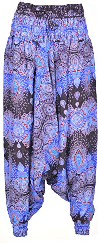 P ANTI GURU Thai-Yoga-Hippie-Freizeit-Kleidung-Hose weit Damen Herren lang leicht hohe Taille weites Bein one size von Dunkel Blau