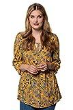 Ulla Popken Damen große Größen bis 62+   Tunika mit Blütenmuster   Ausschnitt mit Bindeband   Biesen   3/4-Ärmel mit Manschetten   senf 46/48 717618 60-46+