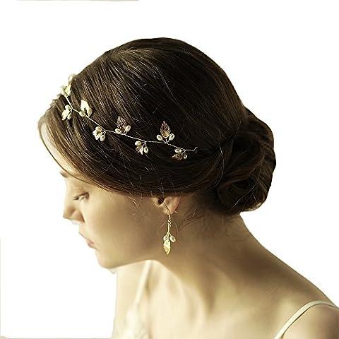 grec/Déesse romaine Feuille d'or Bandeau et boucles d'oreilles–Ensemble de mariée Perle Boucles d'oreilles Diadème avec