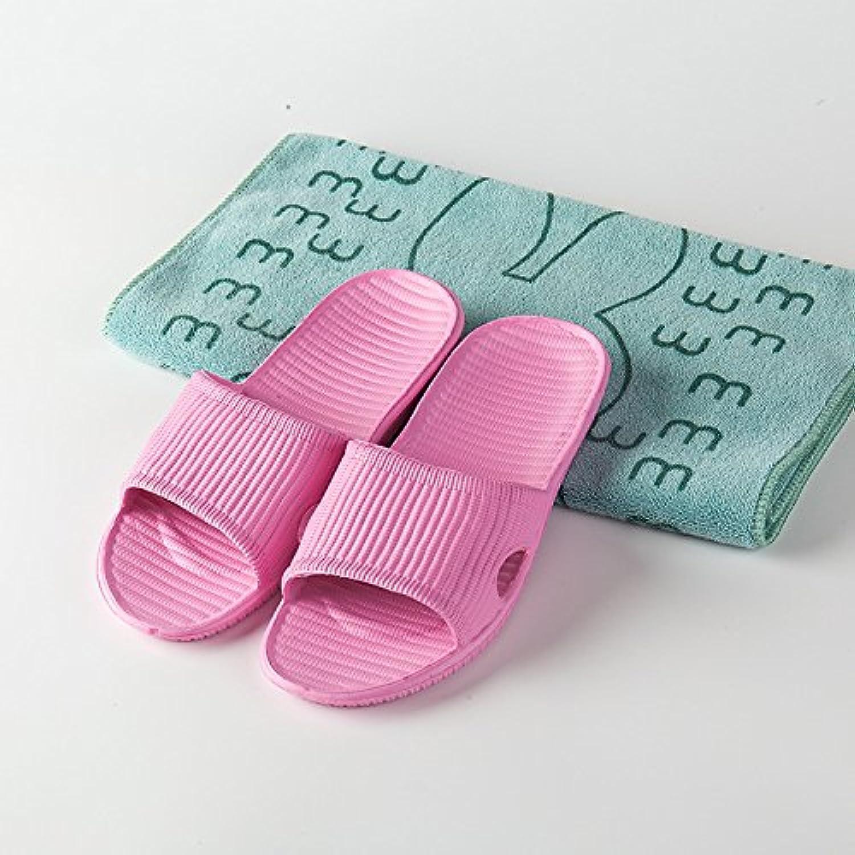 Parejas zapatillas de casa verano EVA antideslizante baño fondo suave cómodo zapatillas de rayas, rosa, 43  -