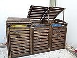 naturholz-shop Mülltonnenbox 3 Tonnen Müllcontainer Müllbox Mülltonnenverkleidung 240 x 126 cm(