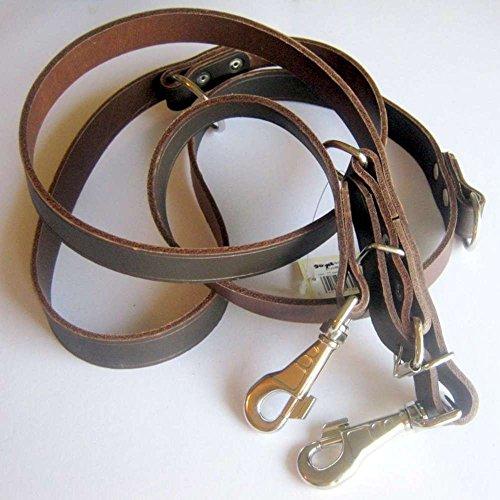 Führleine Hundeleine Leder 25mm breit, 220cm lang, 3-fach verstellbar, braun