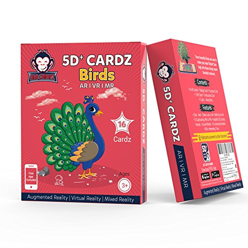 5D+ Cardz – Birds – Augmented and Virtual Reality Educational Game | 20 Learning Flash Cards | Age 3+