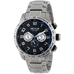 Sector Men's Quartz Watch with Black Dial Chronograph Display and Silver Stainless Steel Bracelet R3253575002