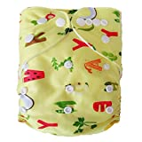 Tinytots Reusable Adjustable One Size Washable Reusable Cloth Diaper Nappy Pack of 1 Cloth Diaper and 1 Microfiber Insert for Babies of Age 0 to 2 Yrs, Random Color Design (2 Diapers + 2 Inserts)