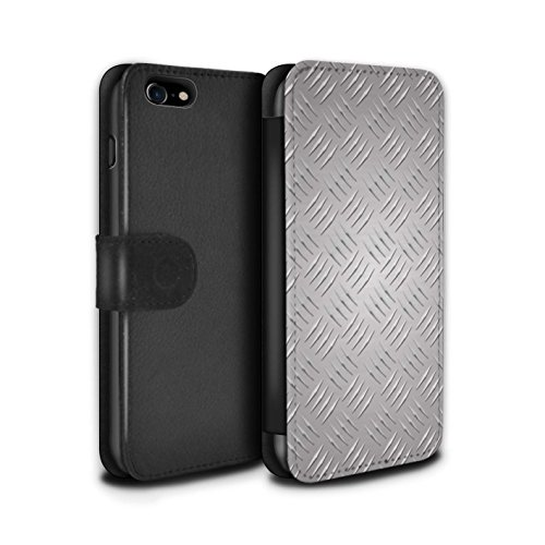 Stuff4 Coque/Etui/Housse Cuir PU Case/Cover pour Apple iPhone 8 / 5 Pack Design / Motif en Métal en Relief Collection Argent