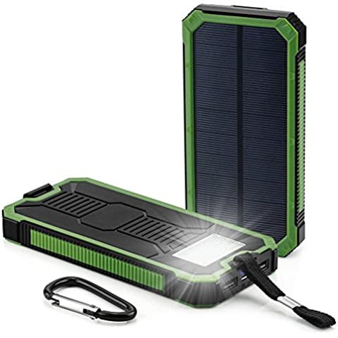 RDT 20000mAh Cargador Portátil de Panel Solar Impermeable Power Bank Batería Externa con LED lámparas para Smartphones, Tables y otros Dispositivos