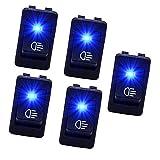 Ocamo 5x/Set quadratische Form Blau LED-Licht Schalter für Motorräder Autos Boote