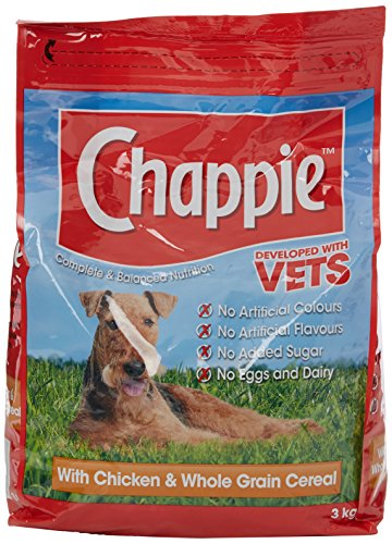 Chappie Complete Dry Dog Food for Adult Dogs with Chicken and Wholegrain Cereal, 3kg