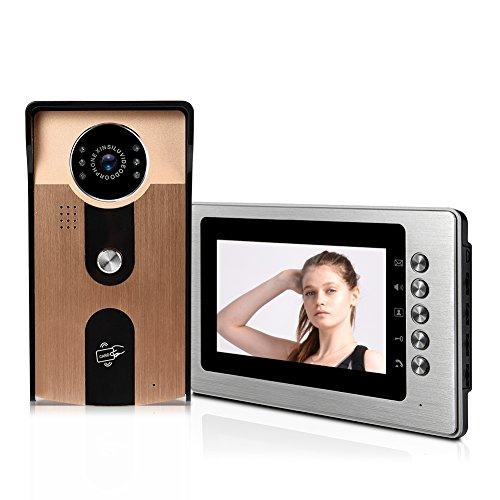 Zyyini Video-Türklingel, 110-240 V, HD 700P, unterstützt die Entriegelung von Ausweiskarte, Entriegelung der intelligenten Zugangssteuerung, geeignet für Villas im Lager Goldfarben -