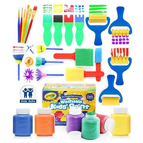 glokers Early Learning Kids Set Farbe, 28 Stück Mini Blumen Sponge Pinsel. Verschiedene Gemälde Zeichenwerkzeuge in einer klaren Durable Aufbewahrungstasche. Inklusive 6 Crayola Waschbar Kinder Malen