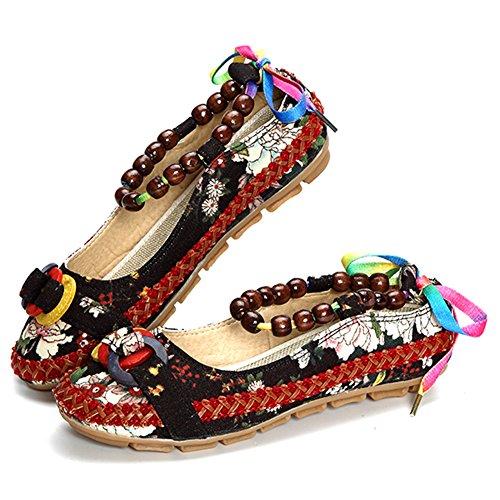 Minetom Donna Retro Fiore Ricamato Piatto Scarpe Casuale Multicolore Perline Rotonda Testa Espadrillas Ballerine Mocassini Nero