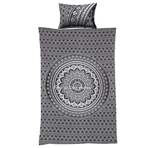 Zwillings Ethnische Baumwoll Indisch Mandala Bettbezug Bettwäsche Set Gedruckte Blumen Ombre graue Steppdecke Abdeckung durch Stylo Kultur