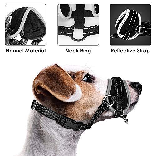 Nasjac Dog Maulkorb, Update Bequemer Verhindern Sie das Beißen Bellen Kauen Verhaltenstraining Einstellbare Soft Reflective Quick Fit Nylon Hundemundschutz für mittelgroße Hunde -