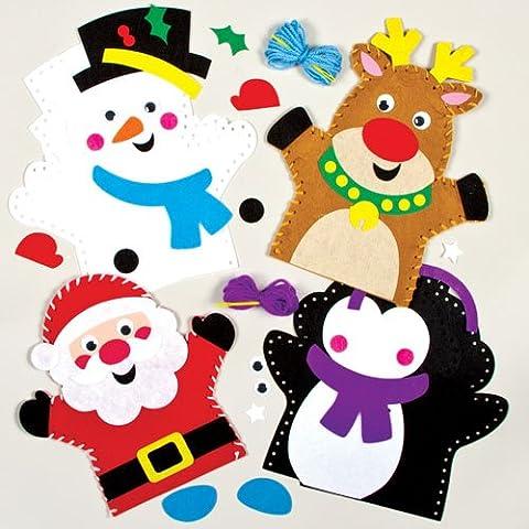 Kits de costura infantiles para hacer marionetas de mano navideñas (pack de 4)