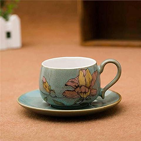 SBWYLT-Tazze regalo porcellana dipinta a mano pura tazza e piattino fiori tazzine e piattini blue