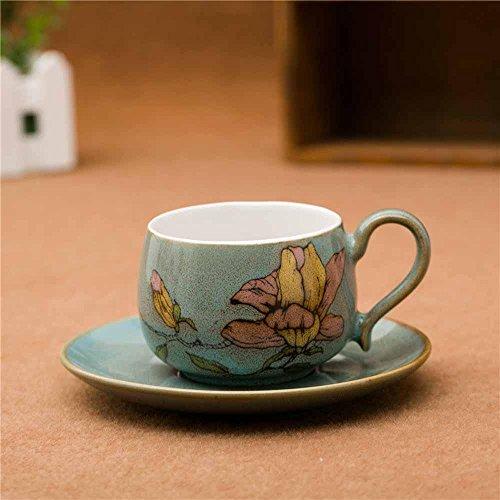 SSBY Chopes à cadeau, coupe pure porcelaine peinte à la main et soucoupe, fleurs, tasses à café et soucoupes , blue