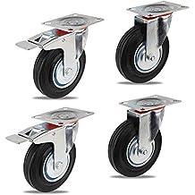 YAOBLUESEA Ruedas de Transporte de transporte Ruedas cargas pesadas rollos de muebles (2 x Ø 125mm Ruedas 2 x ruedas Ø 125mm ricino con frenos, 100 kg por rollo)