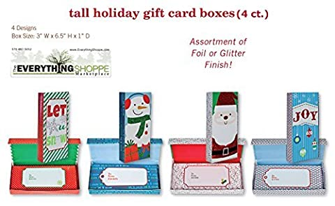 Glitter and Foil Finish Christmas Gift Card Holder Box for Small Gifts or Gift Cards with Snowman, Santa, Christmas Balls, Snowflakes by B-THERE