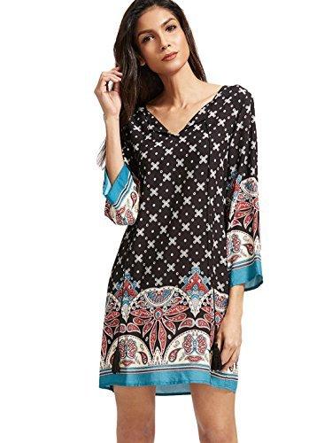 ROMWE Damen Locker Casual Sommerkleid mit Bohemian Paisley Druck Partykleid Strandkleid Tunika Kleid Schwarz S