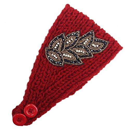 Vovotrade Mujeres tricotan la venda del pelo (Roja)