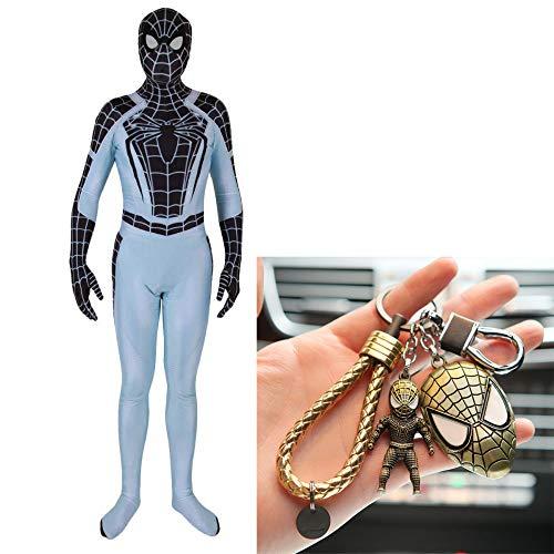 Weibliche Kostüm Space - PIAOL PS4 Negative Space Spiderman Kostüm Cosplay Spiel Trikot Spandex Dress Up Dance Shows + Spider Man Keychain Set,Black-XXXL