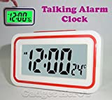Gadget Hero's Talking Alarm Clock With & Temperature. Button Activated Backlit LED Display & Sound. Assorted Colour.