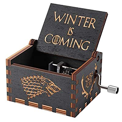 Game of thrones Wood Muisc Box,Antique Carved Wooden Hand Crank Musical Boxes Best Gift for Birthday Christmas
