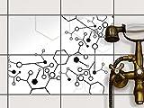 creatisto Fliesen-Sticker | Design-Fliesenaufkleber Badezimmerfliesen Dekofolie Badezimmergestaltung | 20x15 cm Design Motiv Atomic 1-4 Stück