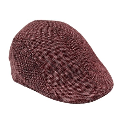 wangsoar Mens Retro Baker Boy Peaked NewsBoy Country Outdoors Golf Hat Beret Flat Cap Red (Red Newsboy Cap)