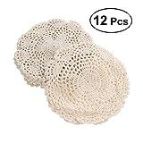 bestonzon 12pcs Crochet Doilies Blumenmuster (beige), Baumwolle, rutschfeste Untersetzer Kaffee trinken Becher mit