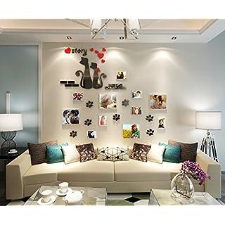 Alicemall 3D Wandtattoo Foto Acryl Wandaufkleber mit Bilderrahmen Katzen Wohnzimmer Schlafzimmer Kinderzimmer Sofa Hintergrund Wand Sticker 150 x 180 cm