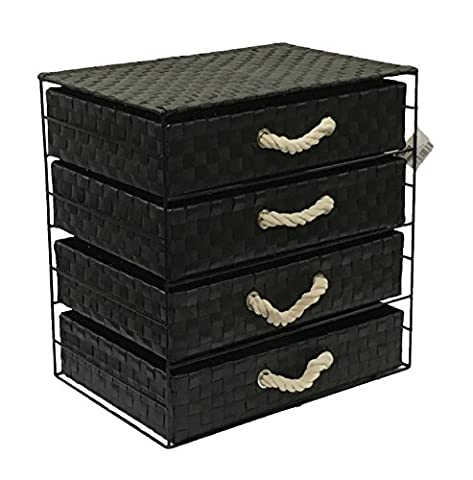 Arpan Black Multi-Purpose Drawer, Storage Unit Cabinet with Rope Handles