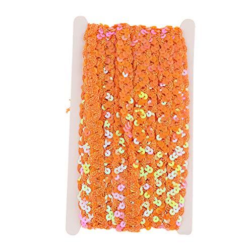 Bauchtanz Couture Kostüm - IPOTCH 13m Paillettenband Pailletten Dekoband Paillettenborte Bauchtanz Deko Hochzeit Karneval Fasching Kostüm Zubehör - Orange, 13m