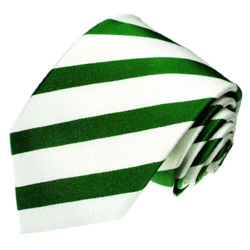 Seide Luxus Streifen (Lorenzo Cana - Luxus Krawatte aus 100% Seide - Streifen Gruen Weiss Blockstreifen - 84181)