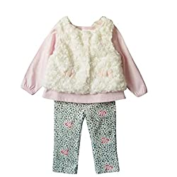 Baby Clothes Set for 0-24 Months Infants, Transer® Babies T-shirt Tops+Leggings+Vest Girls 3pcs Outfit Set Toddlers Clothing Kids Floral Trousers+Tshirts+Waistcoats