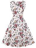 FAIRY COUPLE 50er V-Ausschnitt Rockabilly Polka Blumen Jahrgang Kleid Cocktail DRT072(4XL,Weiße rote kleine Blumen)