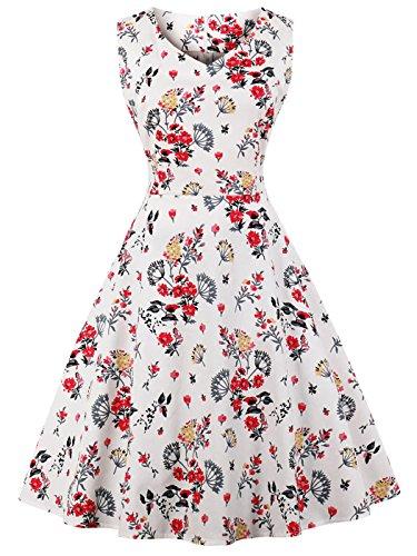 Ausschnitt Rockabilly Polka Blumen Jahrgang Kleid Cocktail DRT072(S,Weiße rote kleine Blumen) (Besonderen Anlass Urlaub)