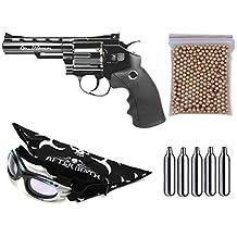 Pack Revolver Perdigón Gamo ASG 17176 Dan Wesson 4'' Calibre 4,5mm. Potencia 1,9 Julios + Gafas antivaho + Pañuelo cabeza decorado, + Balines + Bombonas co2
