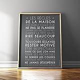 Mes Mots Déco POST-HR-4050-003 Les Règles de la Maison Affiche à Encadrer Papier Ardoise 40 x 0,1 x 50 cm